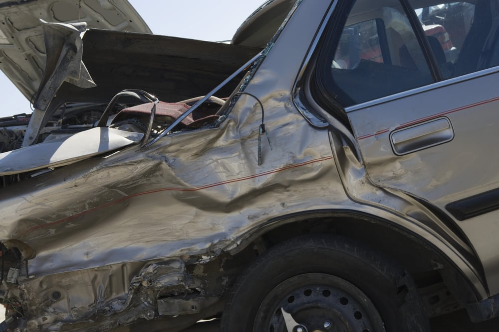 damaged car at junkyard